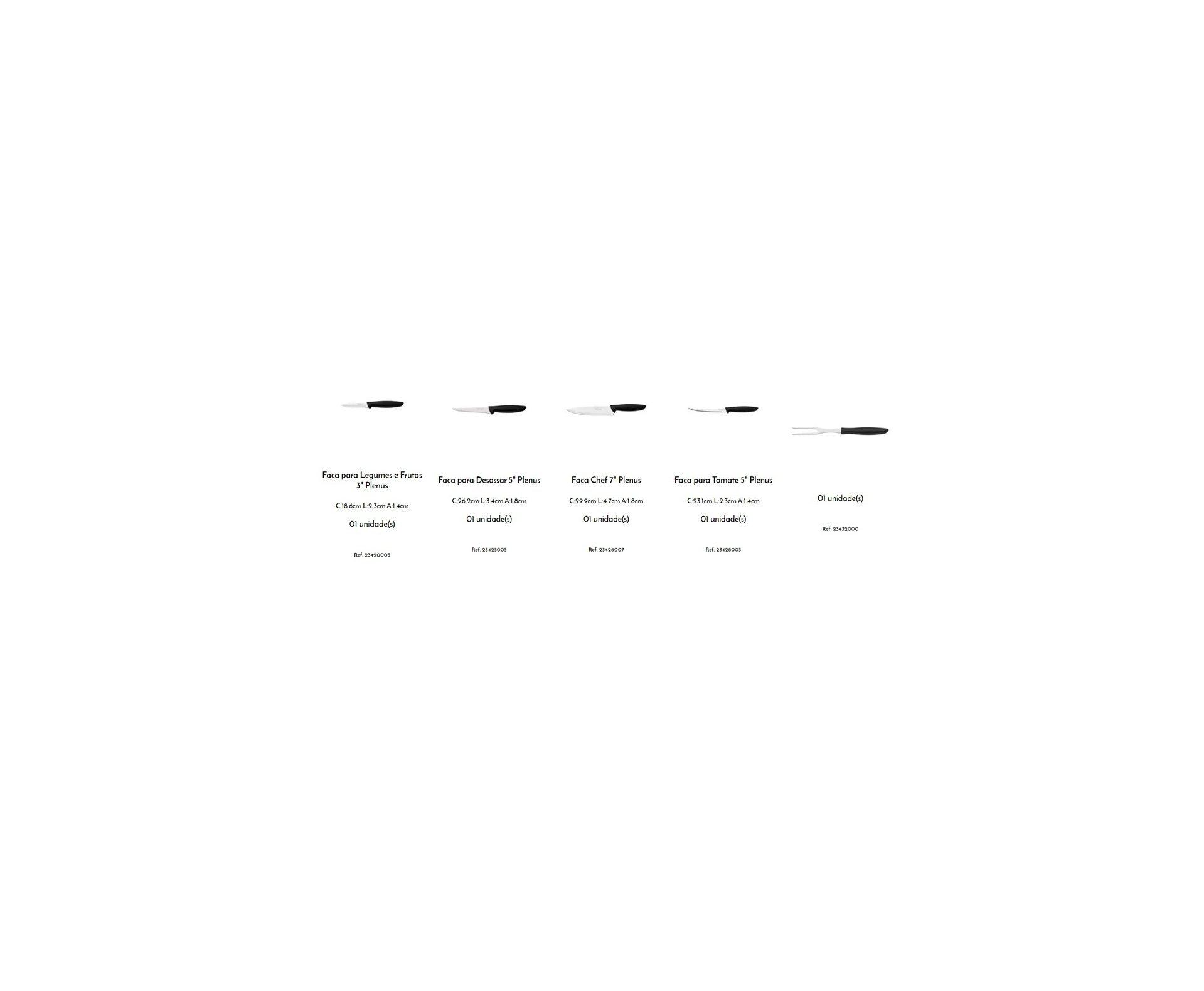 Jogo de Faca 6 Peças Plenus Preto - Sortidos C/ Laminas de Aço Inox e Cabo de Polipropileno - Tramontina