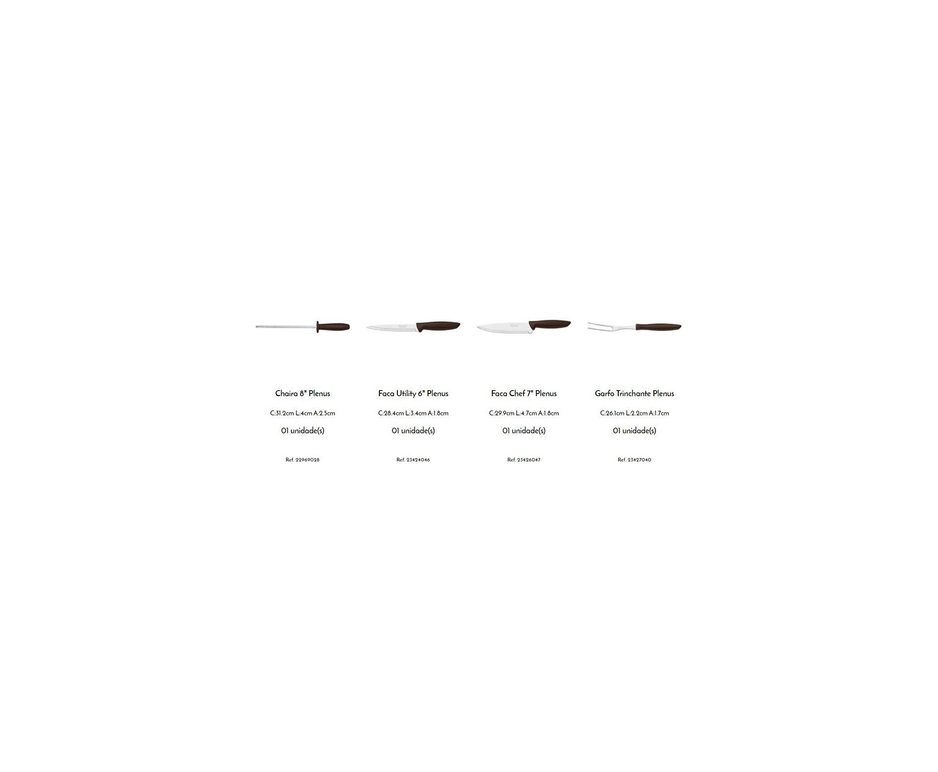 Kit para Churrasco Tramontina Plenus com Lâminas em Aço Inox e Cabos de Polipropileno Marrom 4 Peças