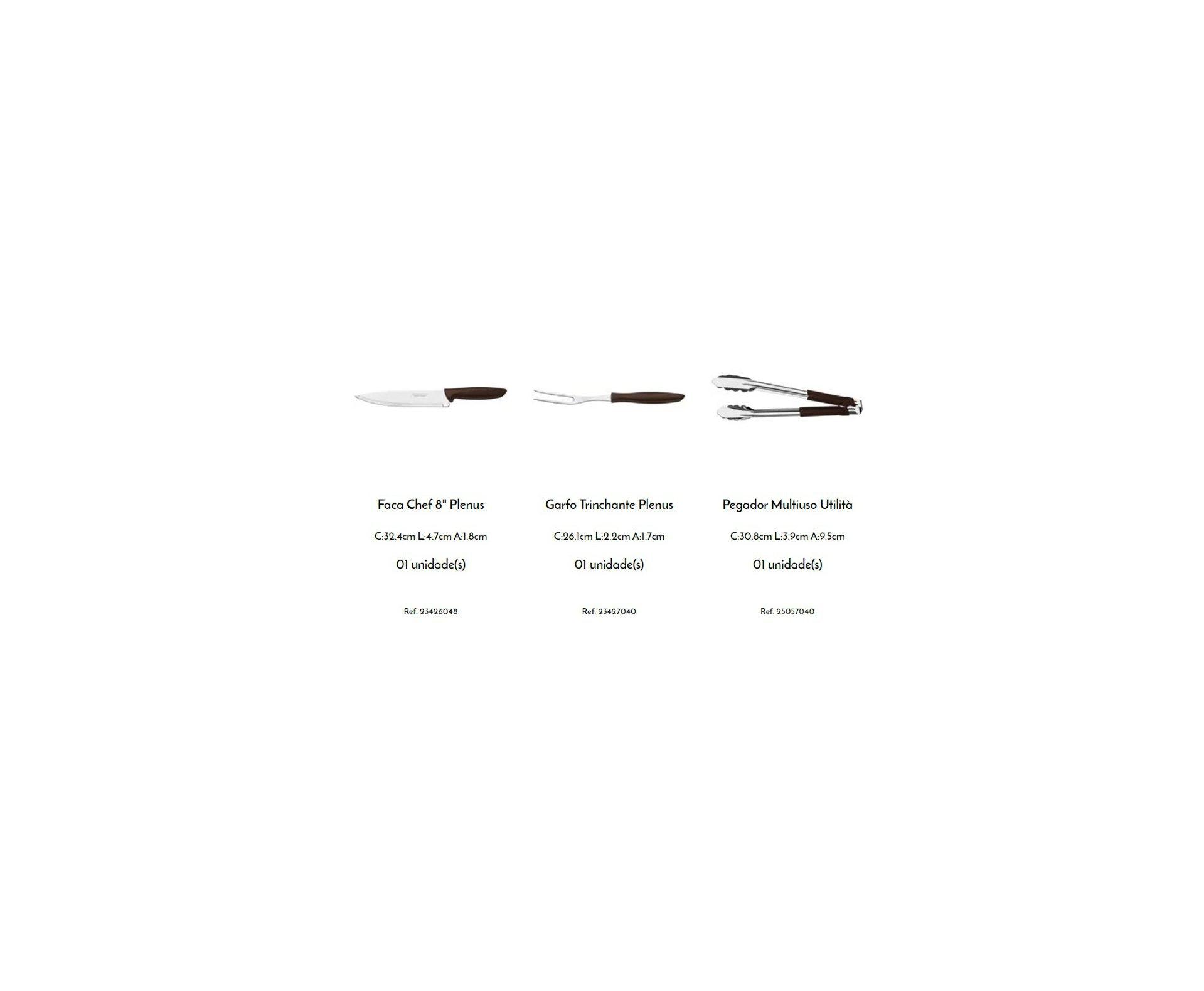 Kit para Churrasco Tramontina Plenus com Lâminas em Aço Inox e Cabos de Polipropileno Marrom 3 Peças