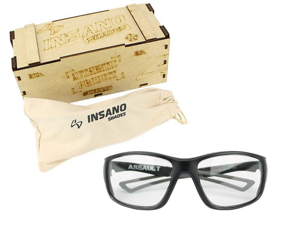 Óculos Balistico  com Armação Preto Fosco - Lente Transparente - Insano Shades