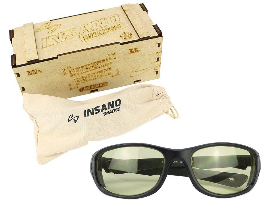Óculos balistico com Armação Preto Fosco - Lente Amarela - Insano Shades