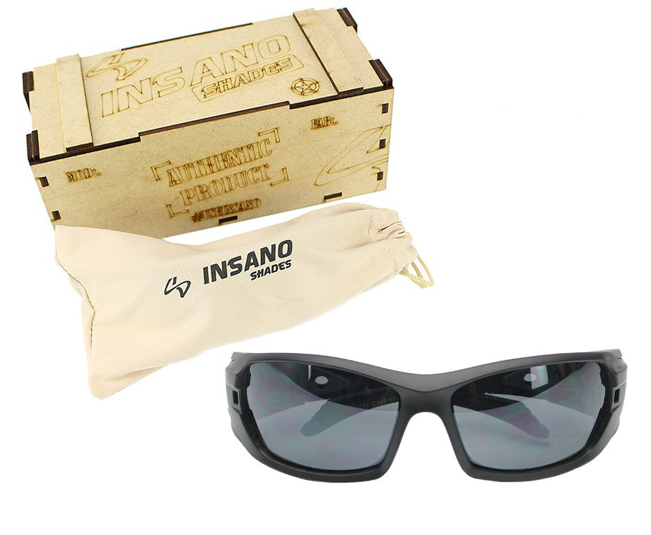 Óculos Balistico com Armação Preto Fosco - Lente Preta - Insano Shades