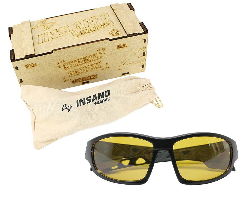 Óculos Balistico com Armação 20543 - C234 Preto Fosco Lente Amarela - Insano Shades