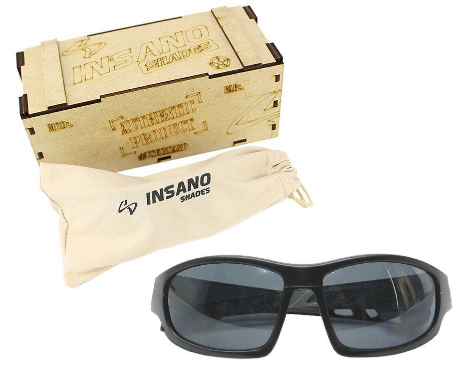 Óculos Balistico com Armação 20543-C123 Preto Fosco - Lente Preta - Insano Shades