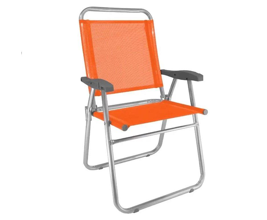 Cadeira de Praia Aluminio Cancun Plus Capacidade Até 120 KG Zaka - Laranja
