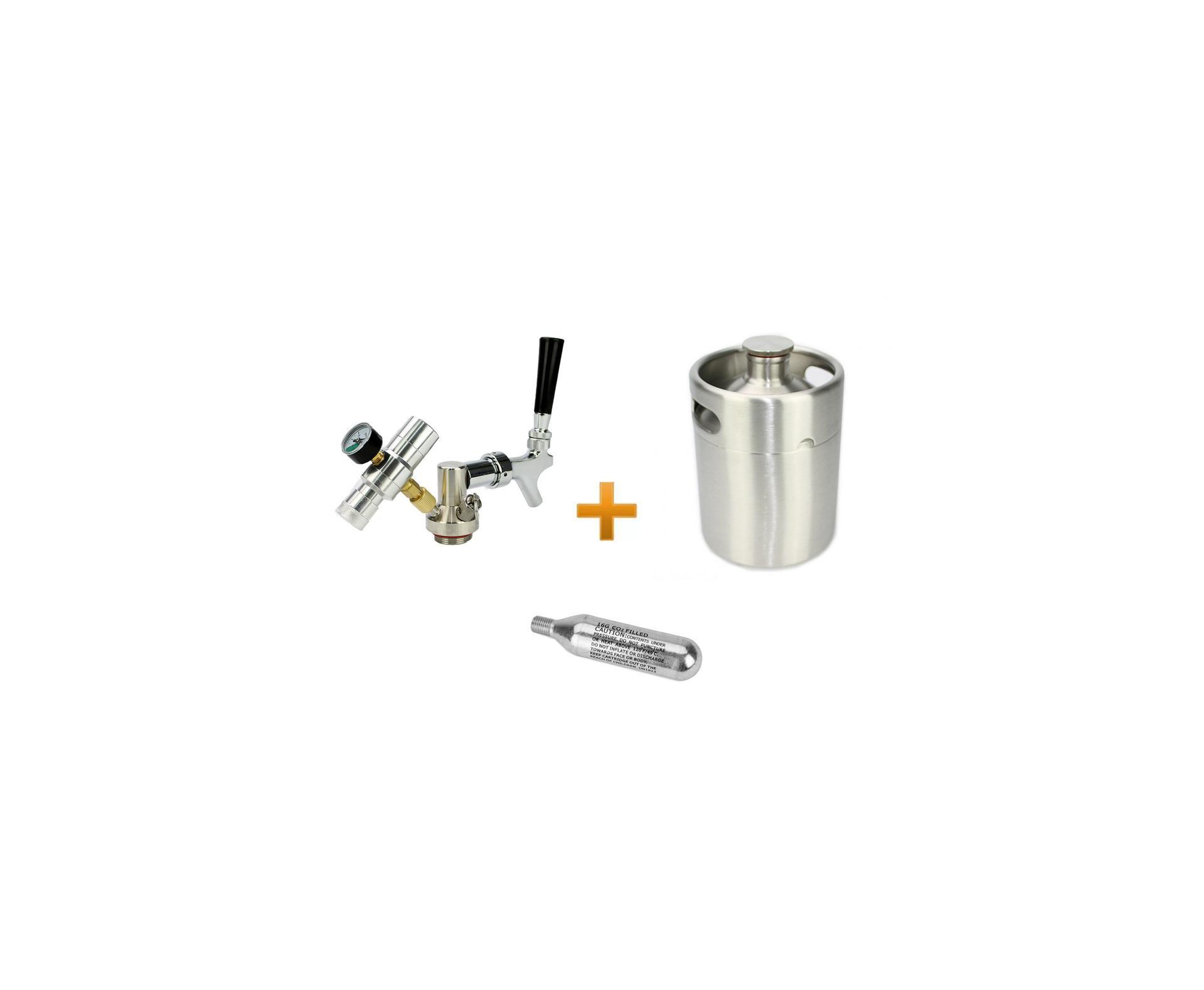 Kit Growler Em Aço Inox 3,6l + Torneira Co2 16g Para Cerveja E Chopp Artesanal