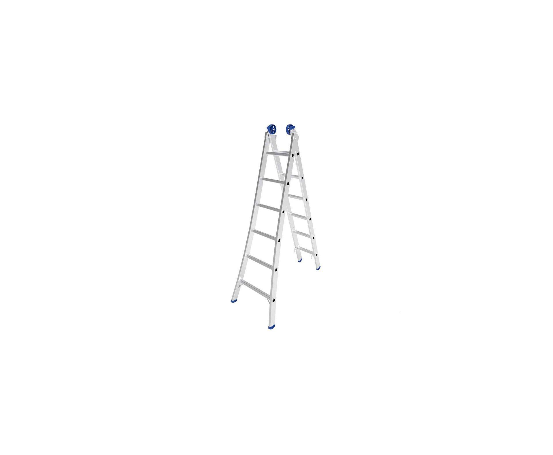 Escada Extensível 3 Em 1 - 2x6 Degraus Em Alumínio - Mor-5202