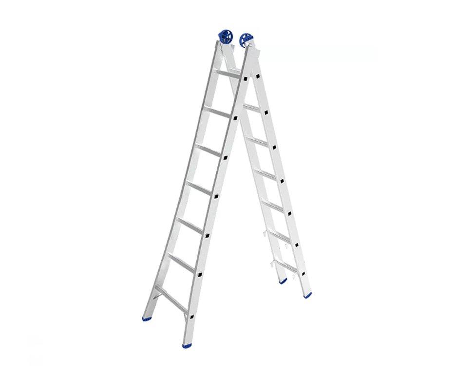 Escada Extensível 3 Em 1 - 2x7 Degraus Em Alumínio - Mor-5203