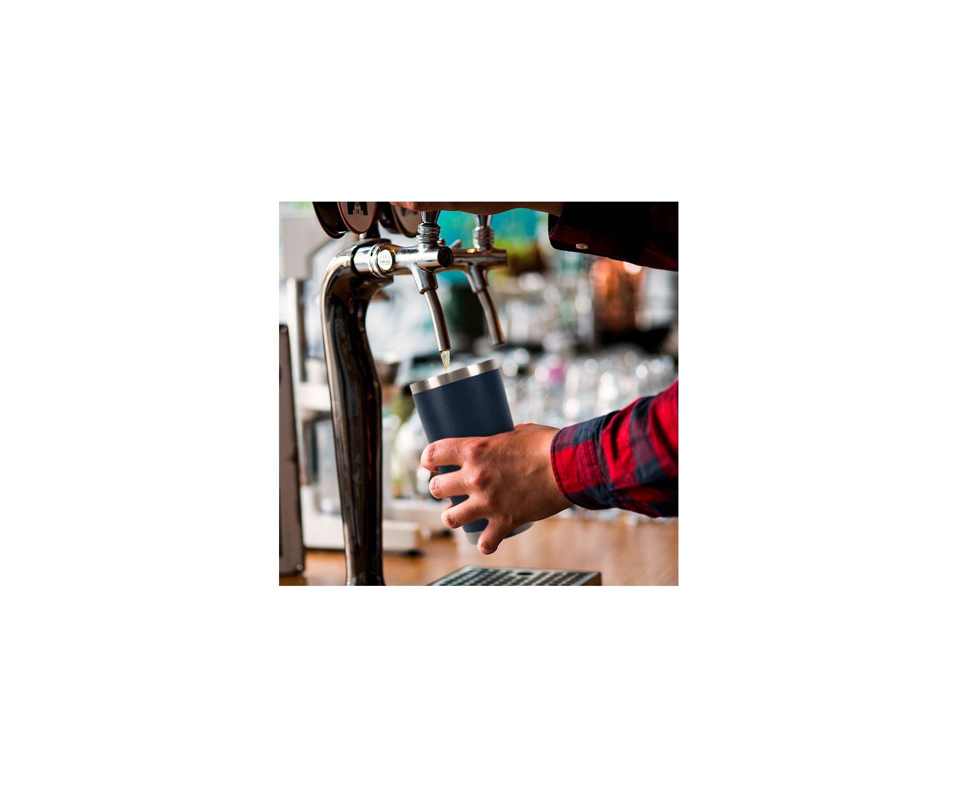 Copo Térmico Para Cerveja Lucky 591ml Inox Off White - Gluck