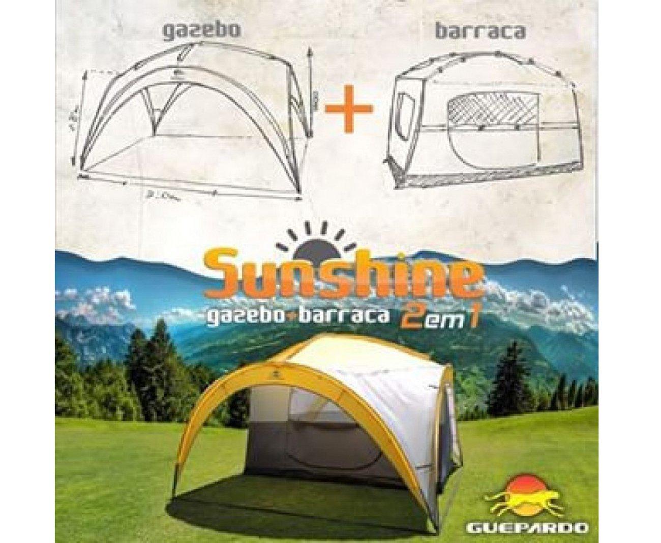 Barraca 4/5 Sunshine 2 Em 1 + Gazebo 2000mm Coluna D Agua - Guepardo