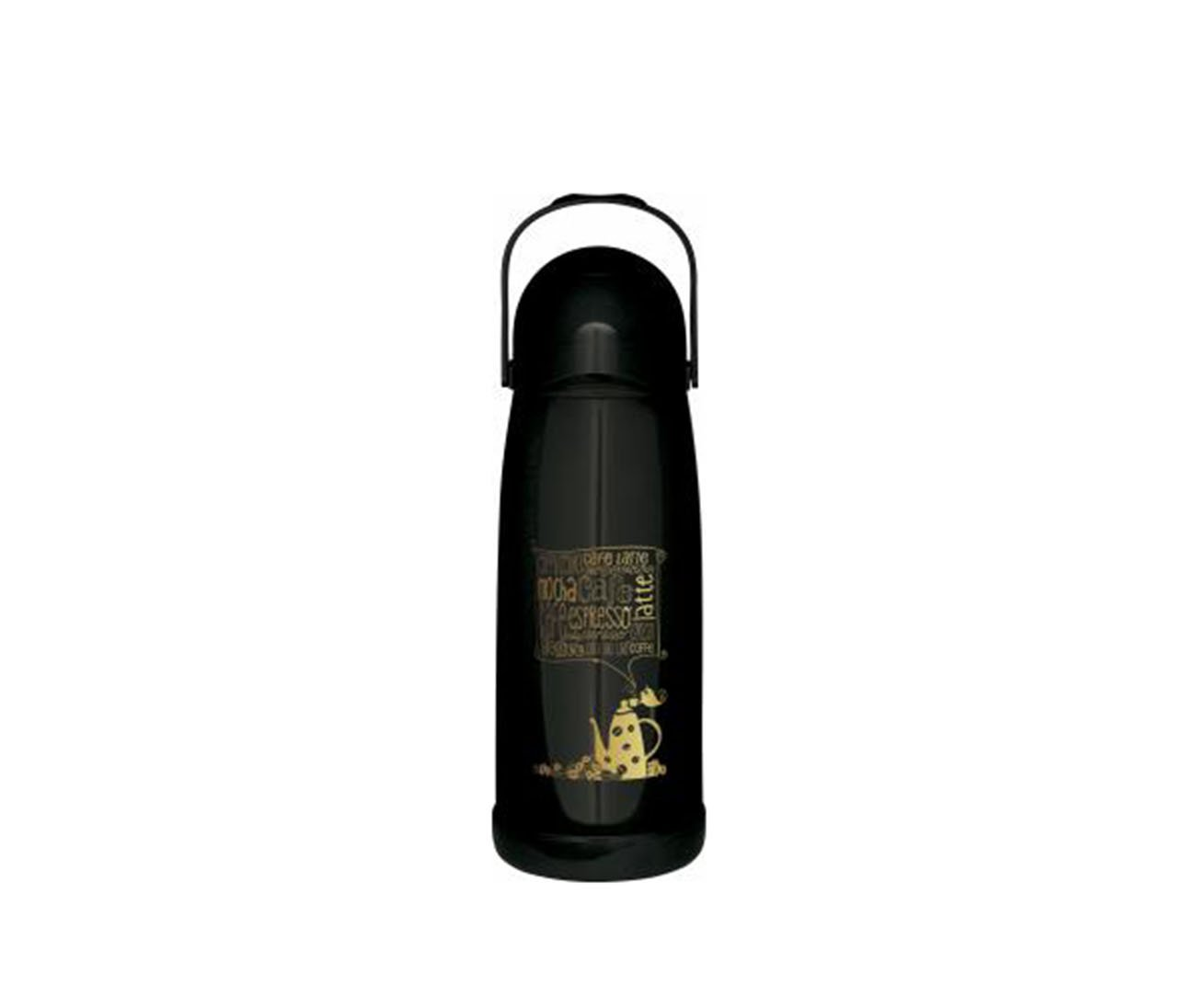 Garrafa Térmica De Pressão Nobile 1,9 Litros Decorada Preta - Mor