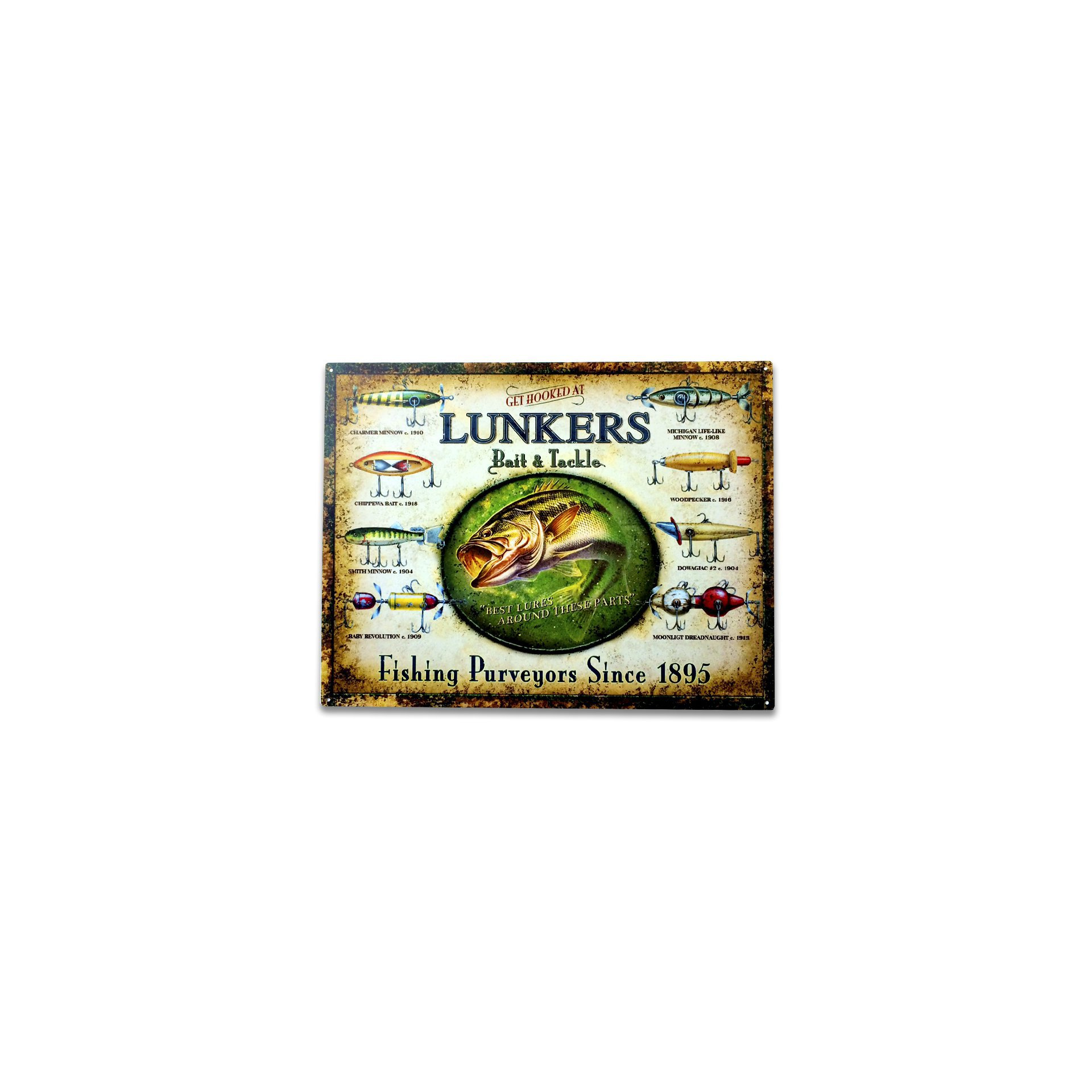 Placa Decorativa - Lunkers Fishing - 30x39 Cm - All Classics