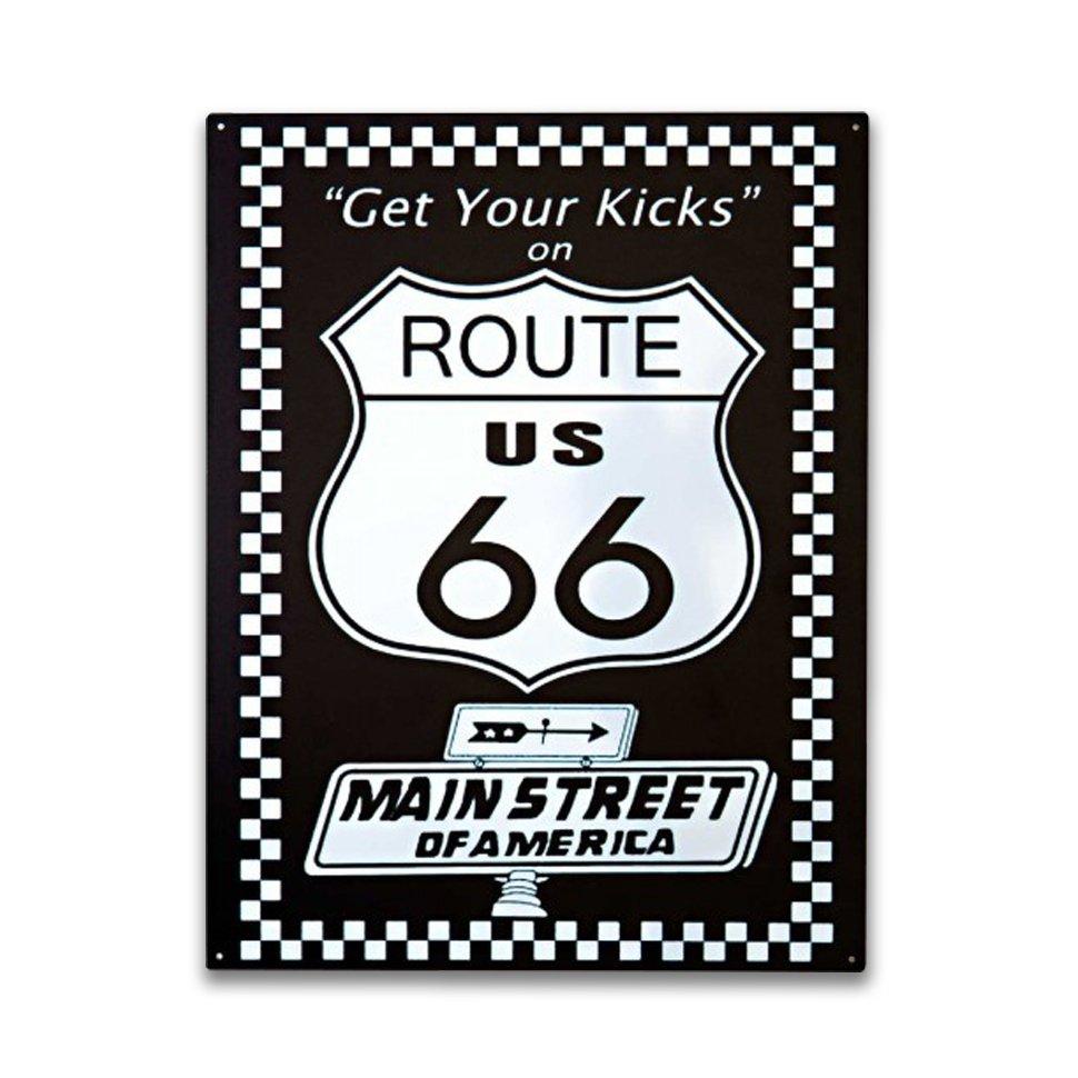 Placa Decorativa - Route 66 (black) - 39x30 Cm - All Classics