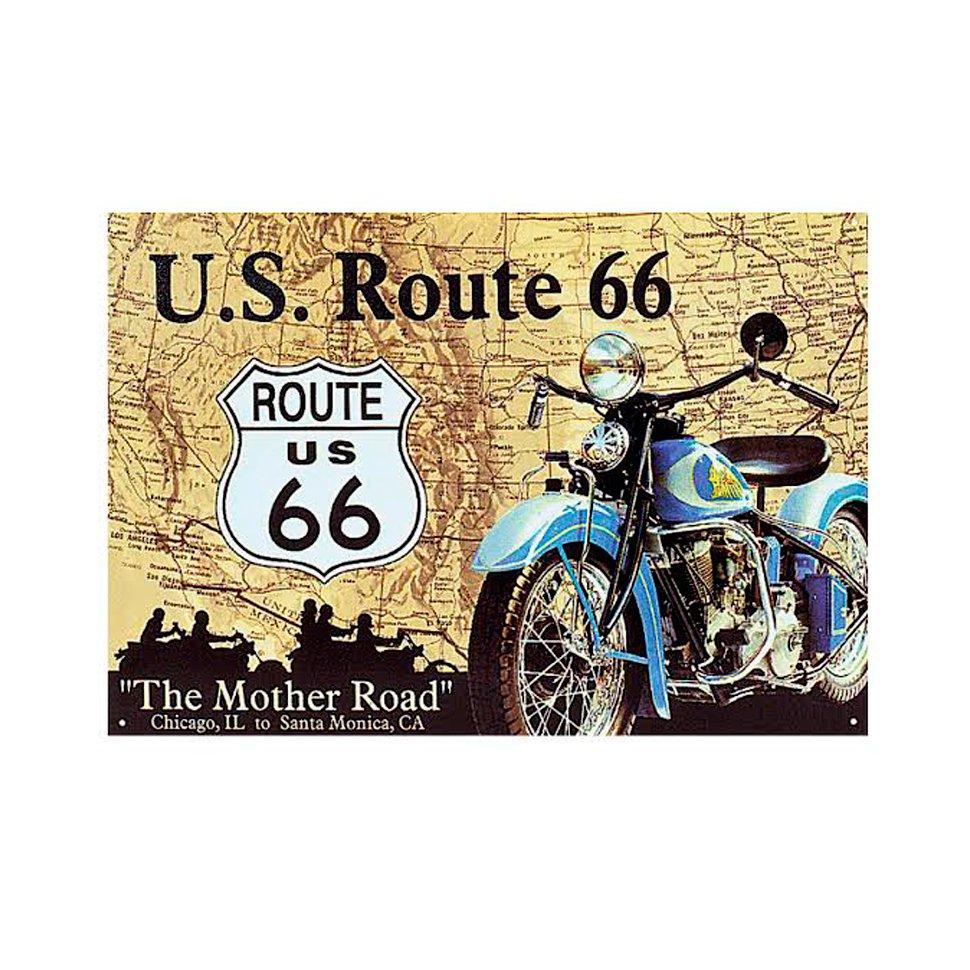 Placa Decorativa - Route 66 - 30x39cm - All Classics