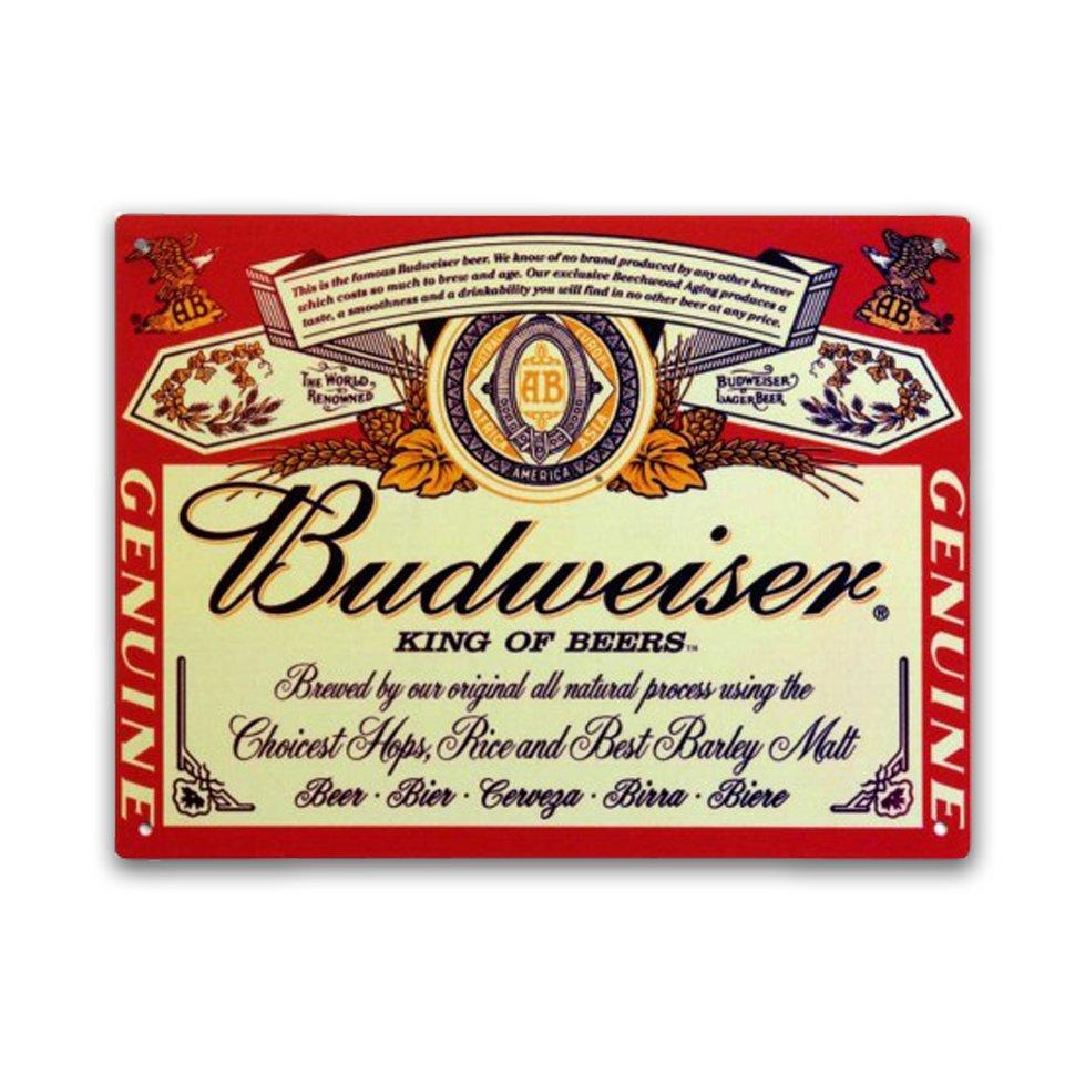 Placa Decorativa - Budweiser - 30x39 Cm - All Classics