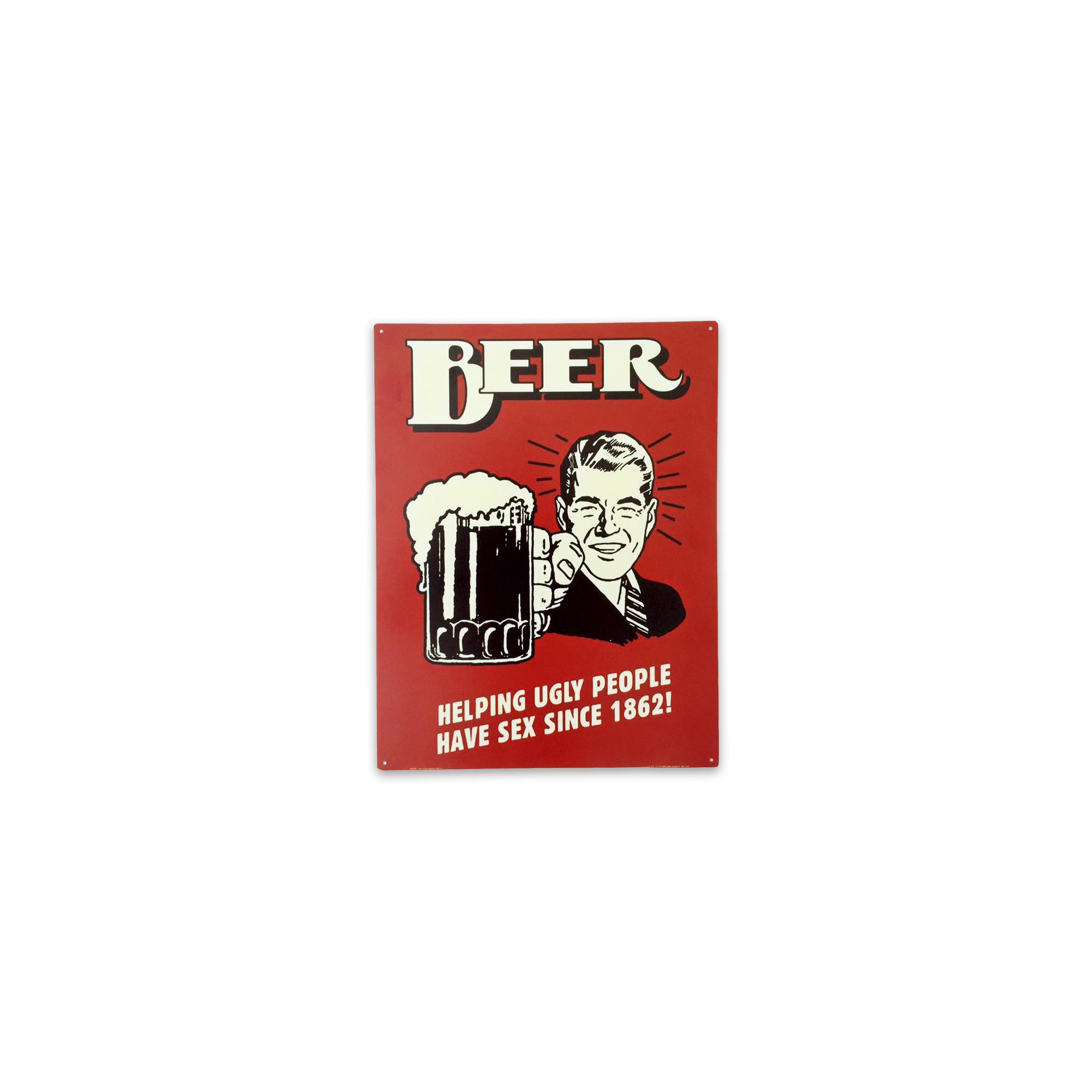 Placa Decorativa - Beer (vermelho) - 39x30 Cm - All Classics