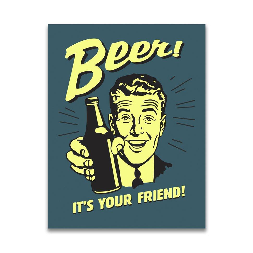 Placa Decorativa - Beer Friends - 39x30 Cm - All Classics