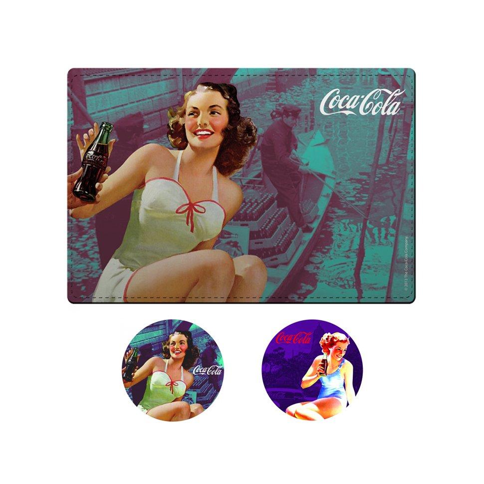 Kit Jogo Americano E Porta Copos Pin Up Brunette - Coca-cola