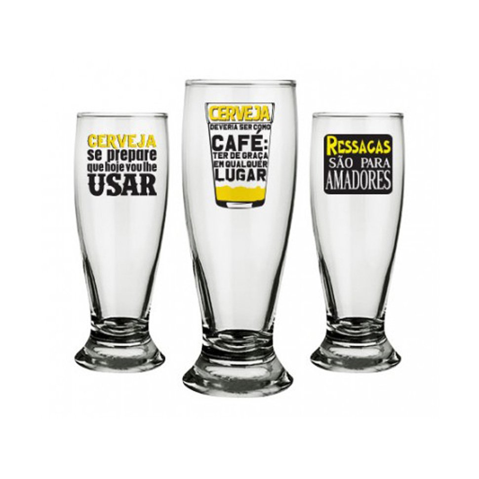 Conjunto Com 3 Copos Para Cerveja - 200 Ml - Vou Lhe Usar