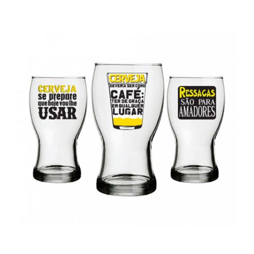 Conjunto Com 3 Copos Para Cerveja - 220 Ml - Vou Lhe Usar