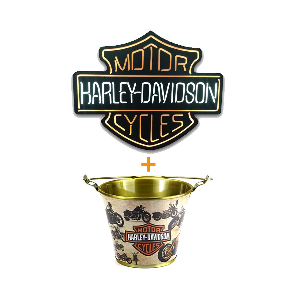 Luminoso Decorativo Harley Davidson - Mdf + Balde De Alumínio Para Gelo Harley Davidson
