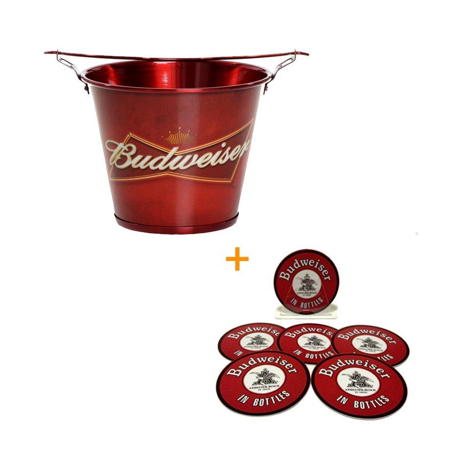 Balde De Alumínio Para Gelo Budweiser + Porta Copos De Plástico Budweiser