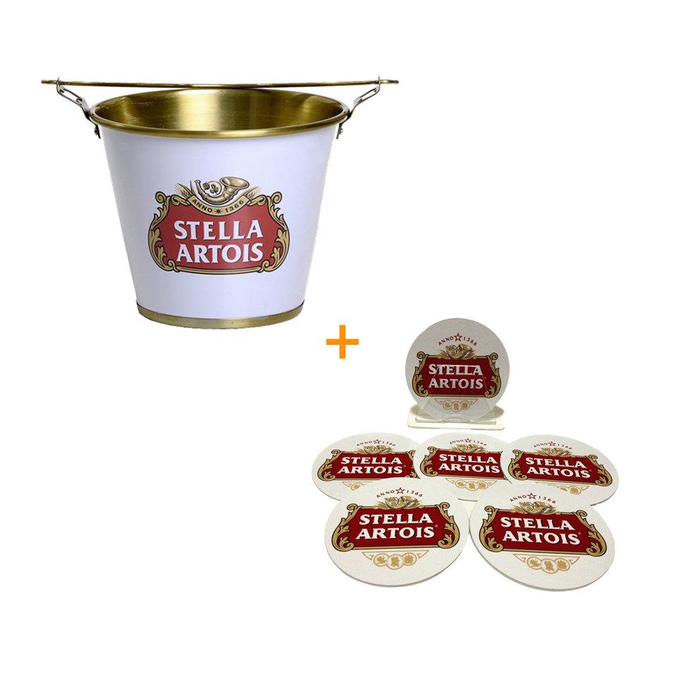 Balde De Alumínio Para Gelo Stella Artois + Porta Copos De Plástico Stella Artois