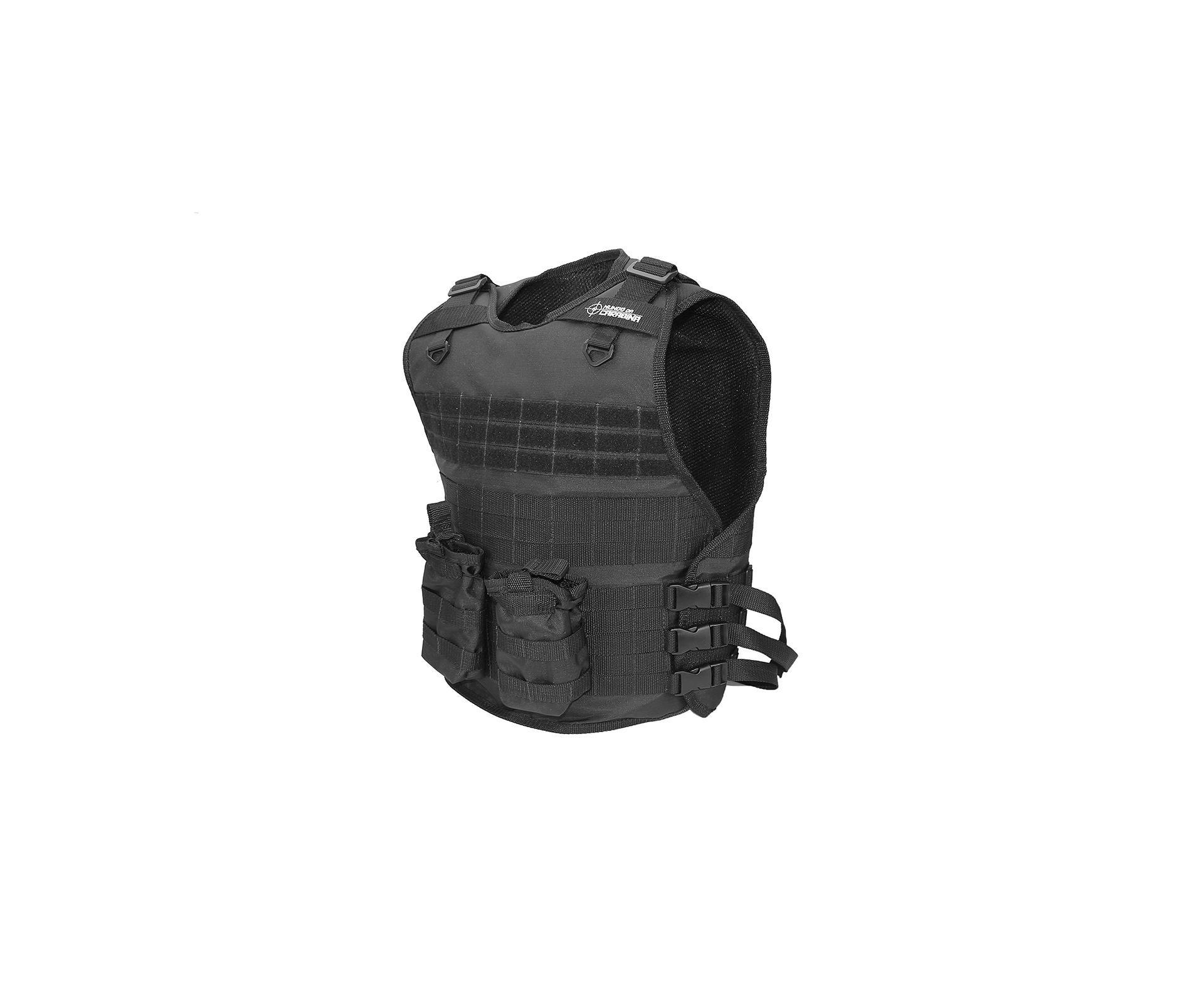 Colete Tático Modular Molle Preto Com 02 Porta Carregador - Mundo Da Carabina