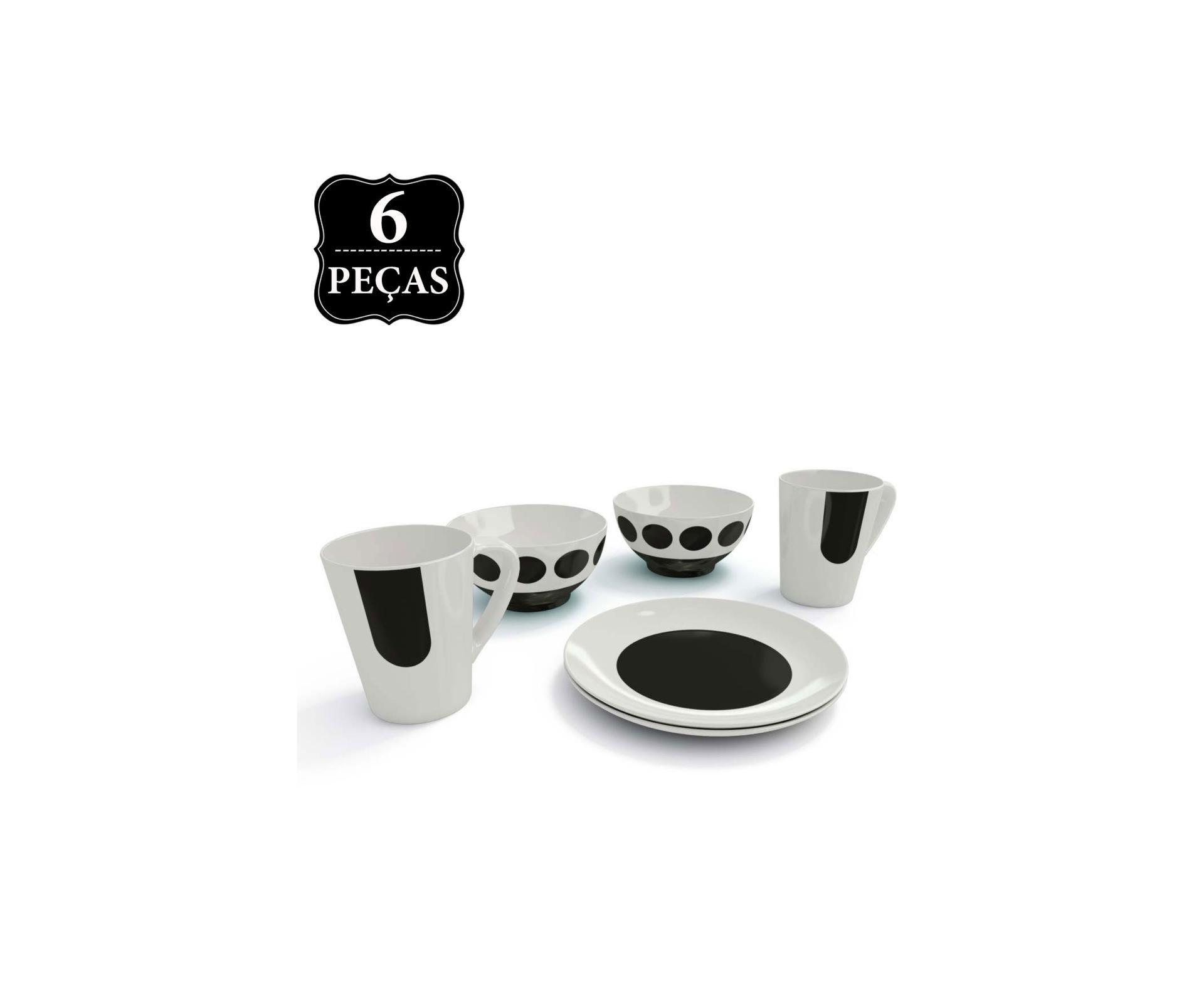 Conjunto Porcelana Classic 6 Peças Tigela Caneca E Prato Sobremesa - Coza