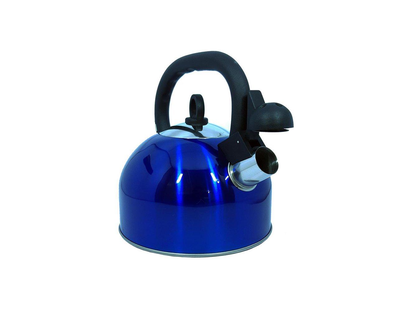 Chaleira Em Aço Inox 2,5 Litros Azul Com Apito - Mor