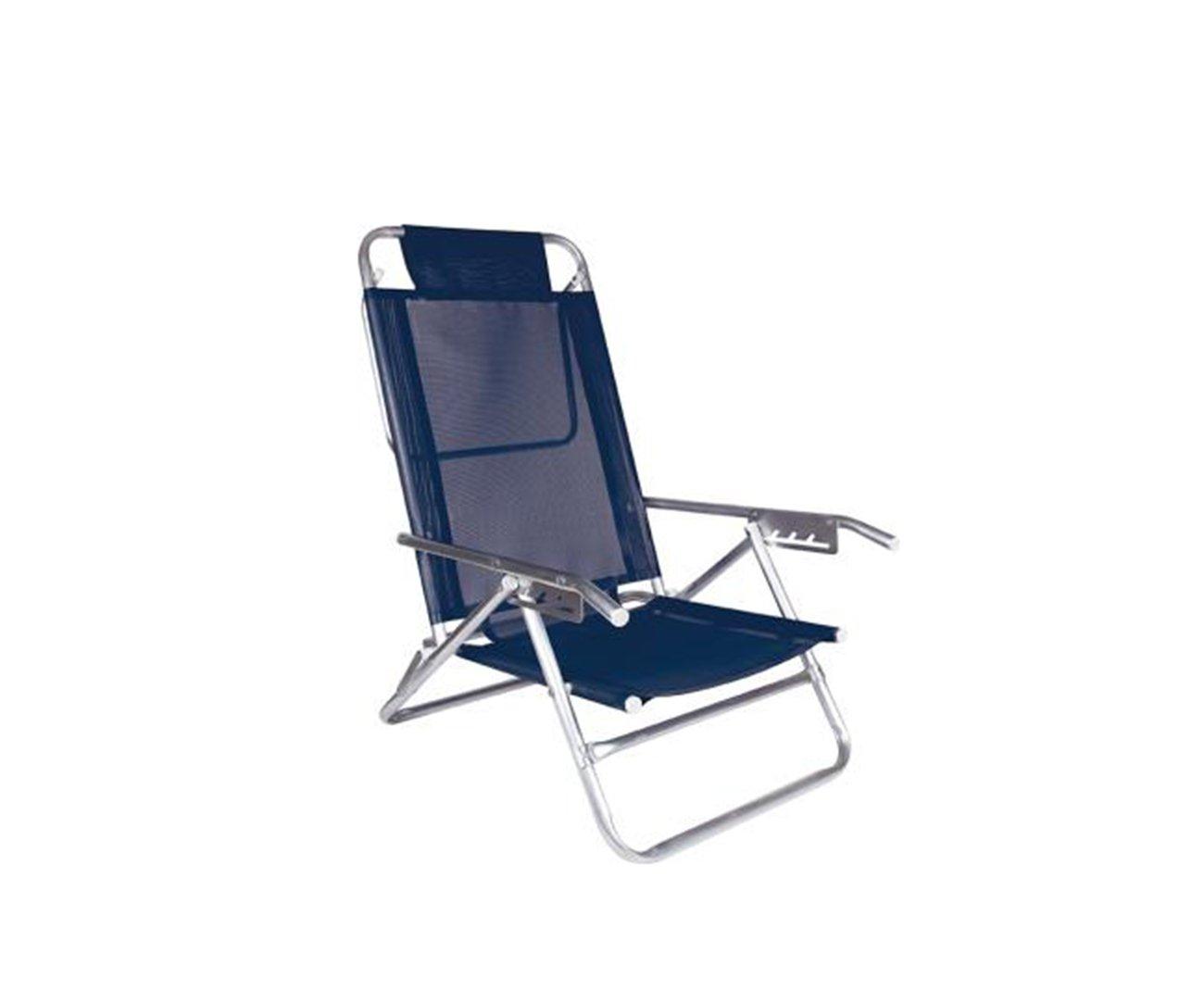 Cadeira Reclinável 5 Pos Alumínio Azul - Mor