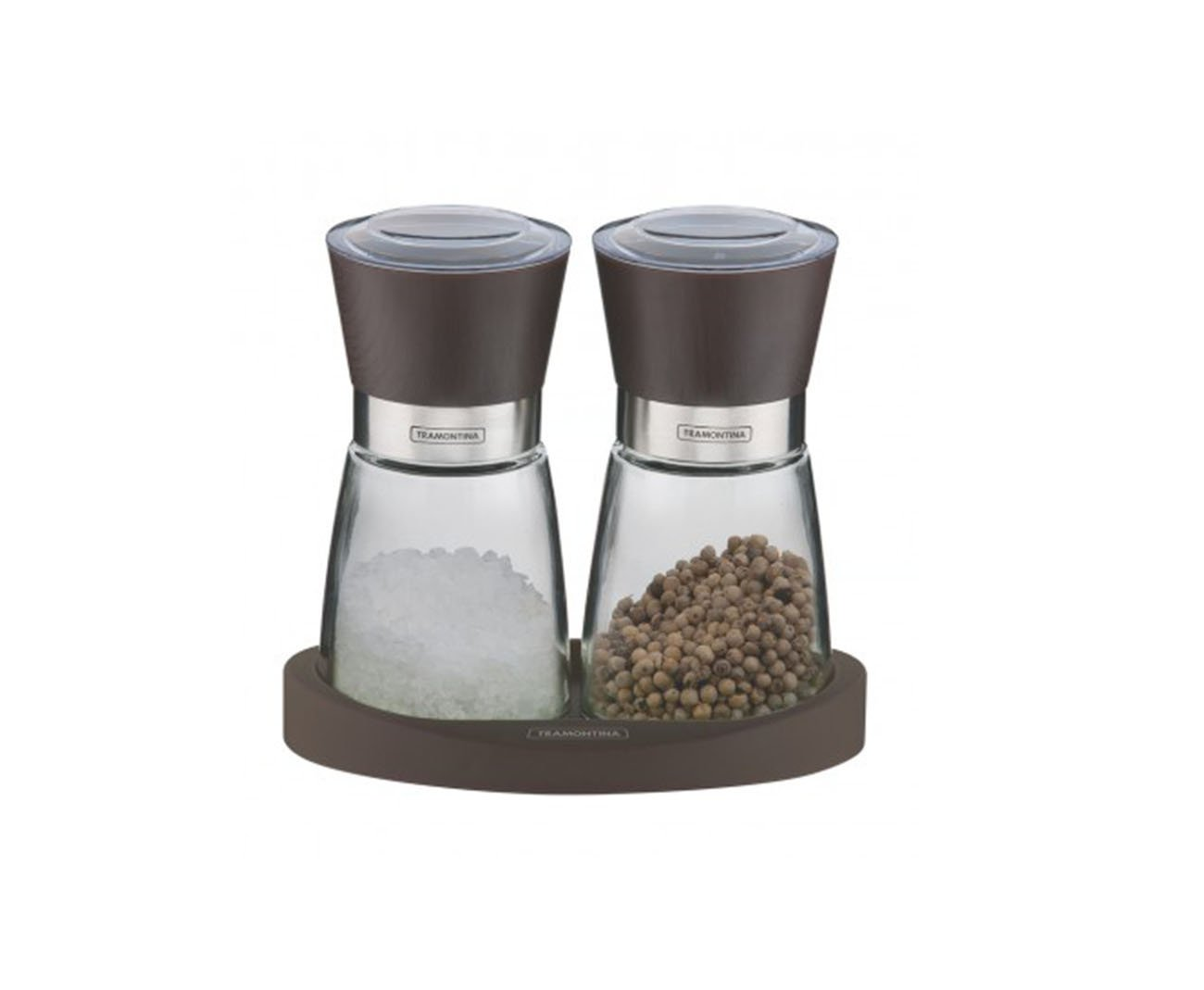 Jogo Moedor De Sal E Pimenta Recipientes De Vidros E Base De Silicone - Tramontina