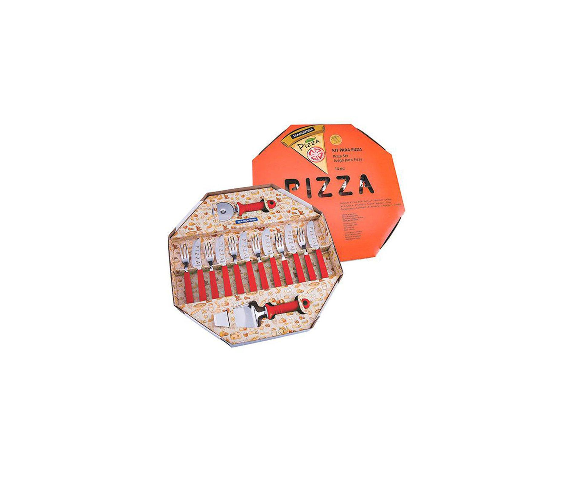 Kit Para Pizza 14 Pçs Tramontina Lamina De Aço Inox E Cabo De Polipropileno