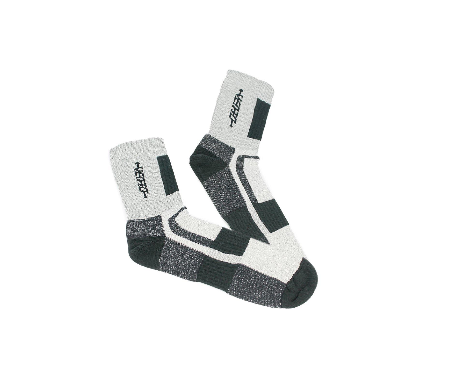 Meia Tecnica Vento Coolmax Cano Longo - Cinza/branco