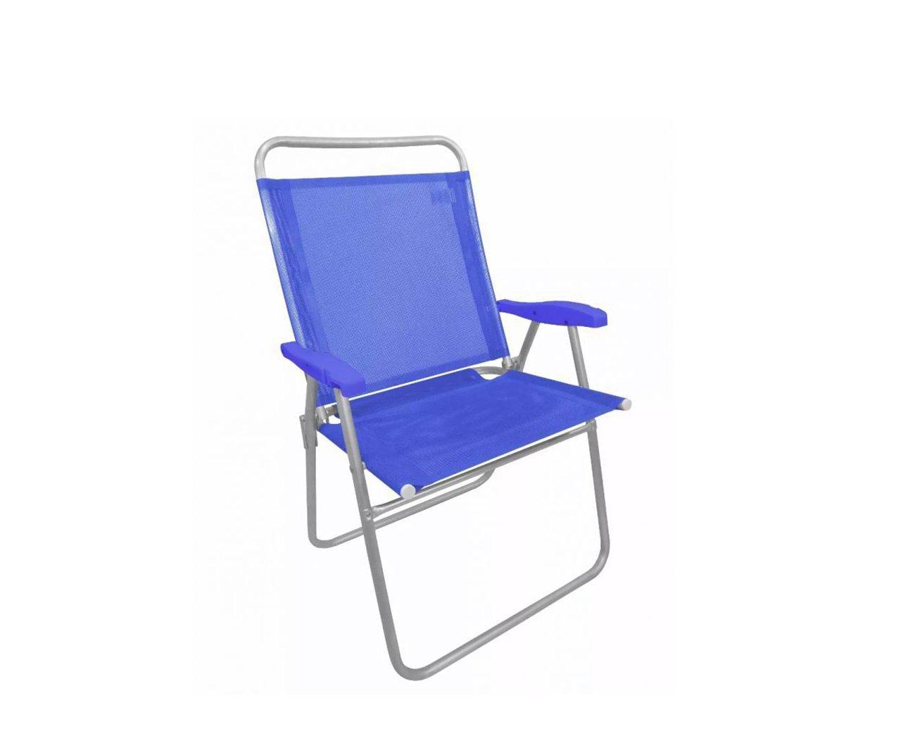 Cadeira De Praia Em Aluminio Zaka King Azul Capacidade 120kg