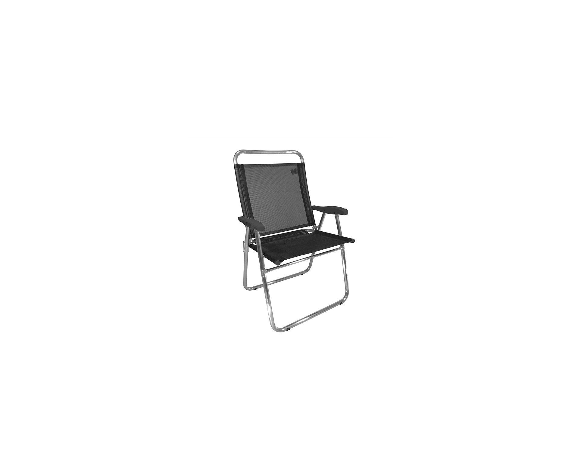 Cadeira De Praia Em Aluminio Zaka King Preta Capacidade 140kg