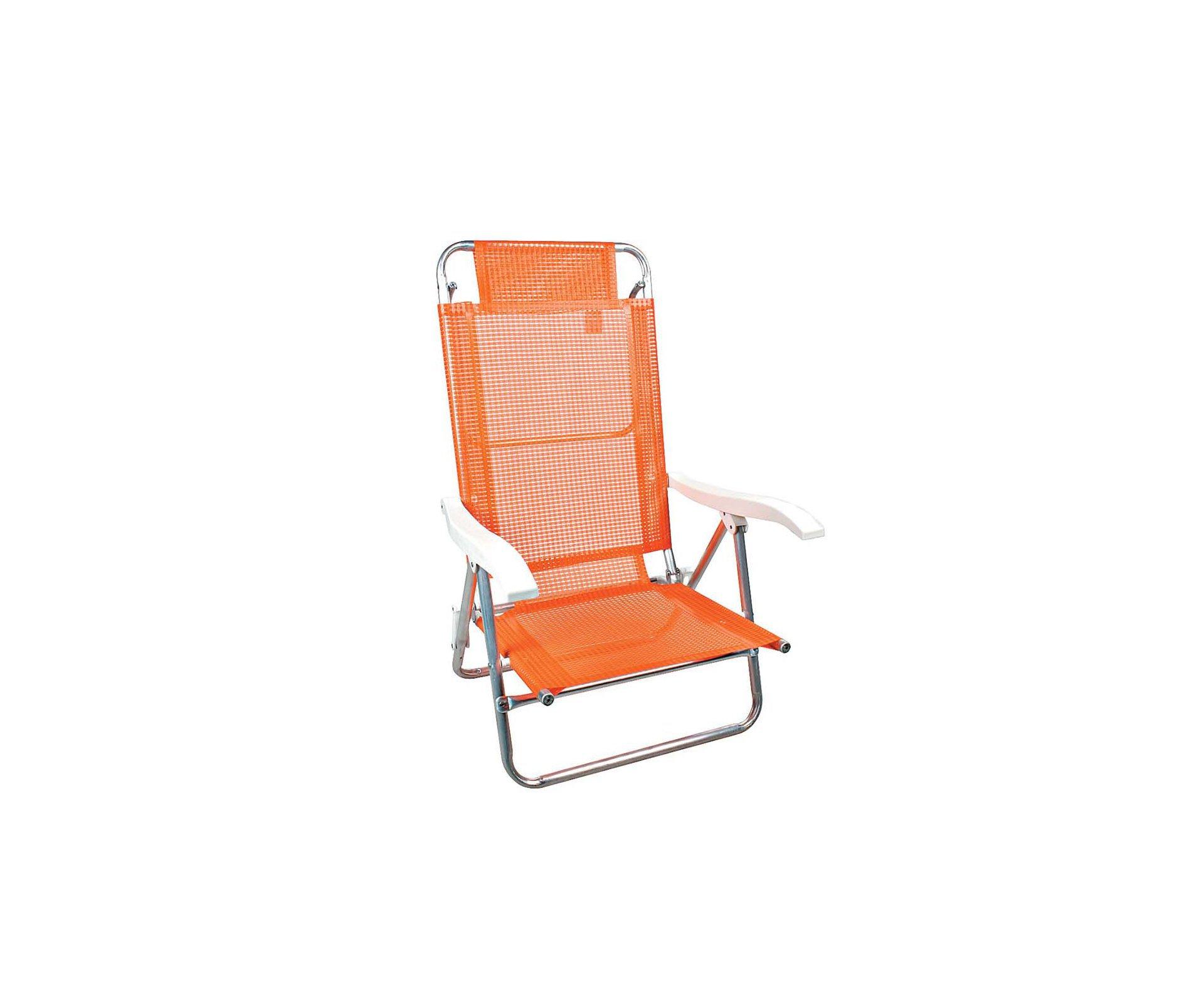 Cadeira Reclinavel De Praia Aluminio Mor Fashion - Laranja