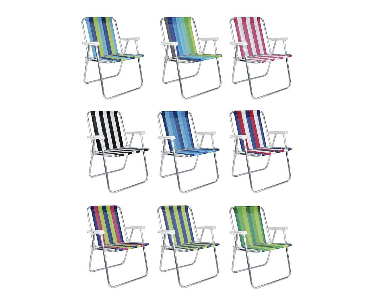 Cadeira Praia Mor Alta - Alumínio Cores Diversas