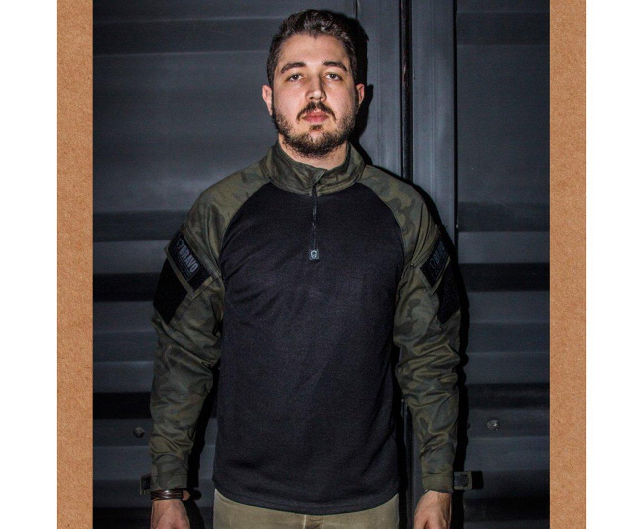 Camisa Combat Shirt Lockdown Bravo Woodland Black